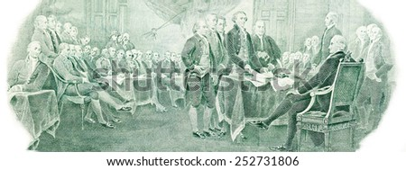Declaration of independence from the U.S. two dollars bill. - stock photo