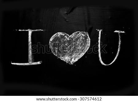 Declaration of love. Hand drawn illustration. Chalk on a blackboard - stock photo