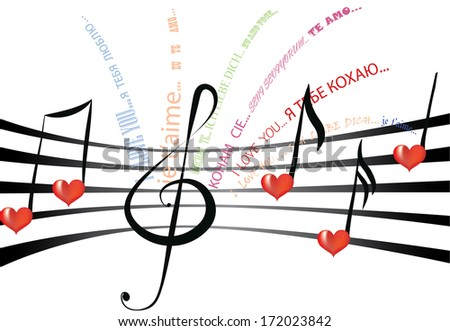 Declaration of love written in various languages and fonts on the staff notation with heart shaped notes and treble clef - stock photo