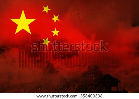 Decline in stock exchange on the graph of the Chinese economy. Flag of China in the double exposure with the graph the stock exchange. - stock photo