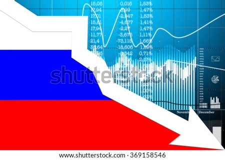 Decline in stock exchange on the graph of the Russian economy. Flag of Russia and graph the stock exchange. - stock photo