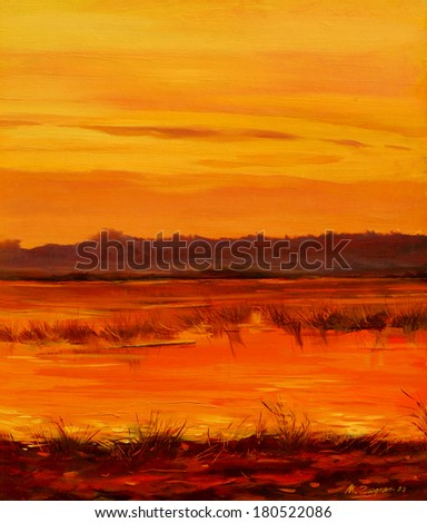 decline on lake, painting by oil on canvas, illustration - stock photo
