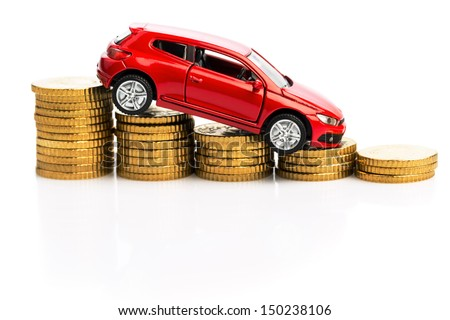 declining profits in the automobile and for car manufacturers. - stock photo