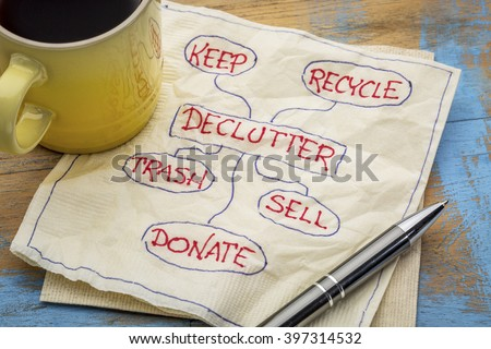 declutter concept (keep, recycle, trash, sell, donate - handwriting on napkin with a cup of coffee - stock photo