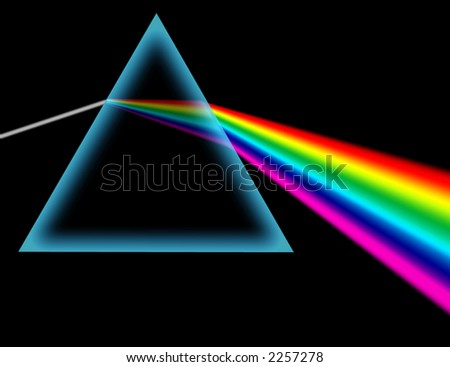 Decomposition of white light on seven colors - stock photo