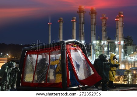 Decontamination  for emergency response Oil,refinery plant. - stock photo