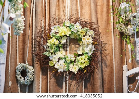 decor of flowers on the wedding ceremony in restaurant