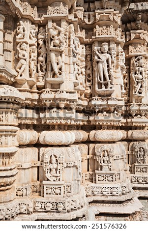 Decor of Ranakpur Temple in Rajasthan, India - stock photo