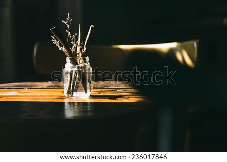 decorate Glass on table,shadow on the table - stock photo