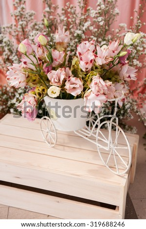 Decorate : Spring Flower Bunch Isolated in white basket design on wooden box - stock photo