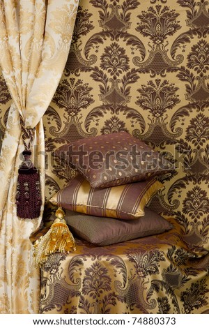 Decorate your home with beautiful cushion and curtain - stock photo