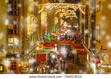Decorated and illuminated Christmas street at night in Dresden, Saxony, Germany