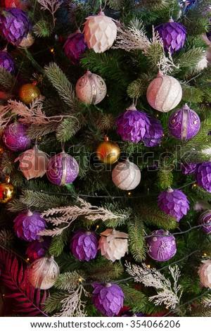 Decorated and illuminated christmas tree vintage background - stock photo
