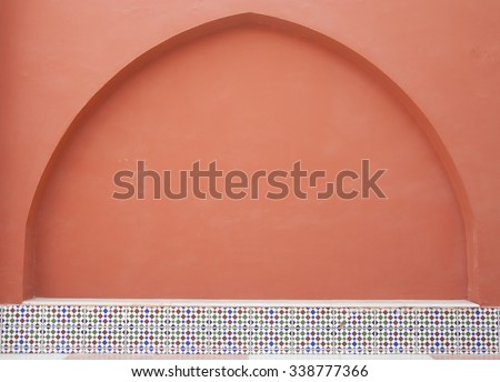decorated arch  in arab style. - stock photo