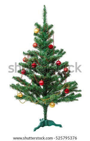 Decorated artificial Christmas tree isolated on white background.