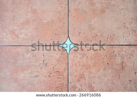 Decorated background tiles terracotta and turquoise color, mosaic - stock photo