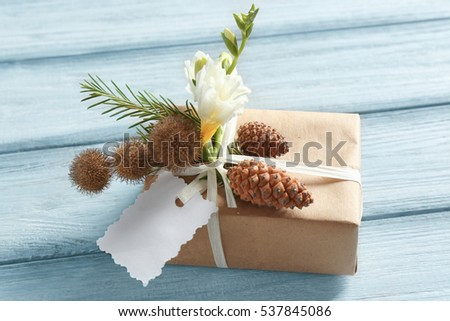 Decorated box on wooden background