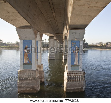Decorated bridge on the River Nile Egypt - stock photo
