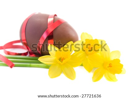decorated chocolate easter egg on white background - stock photo