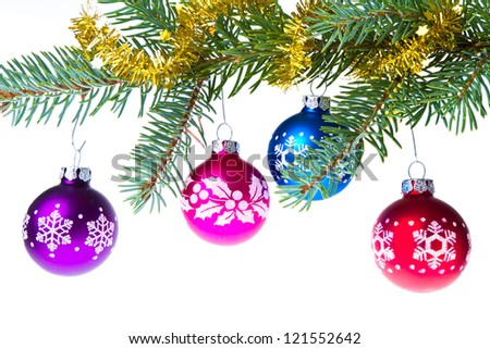 decorated christmas branch isolated on white background - stock photo