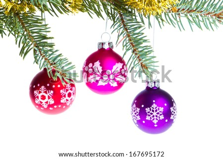 decorated christmas branch isolated on white background