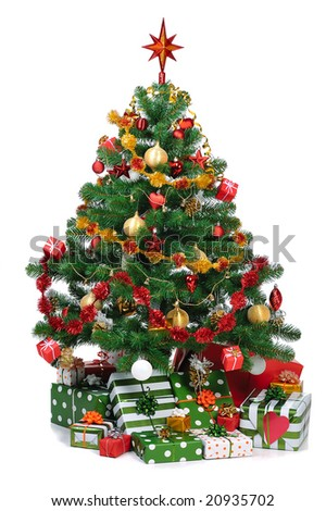 decorated Christmas fir tree with gifts - stock photo
