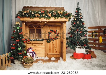 Decorated christmas house - stock photo