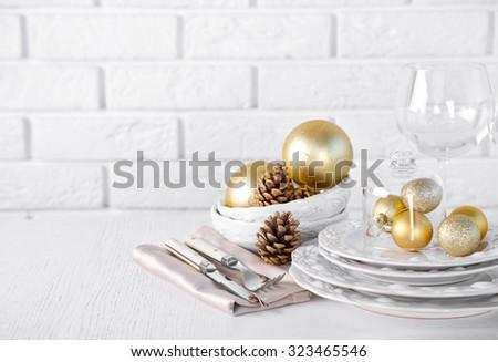 Decorated Christmas table setting. Christmas menu concept - stock photo