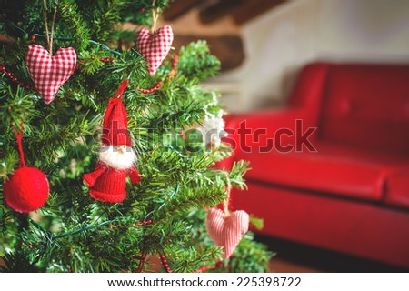 Decorated Christmas tree and Christmas gifts - stock photo