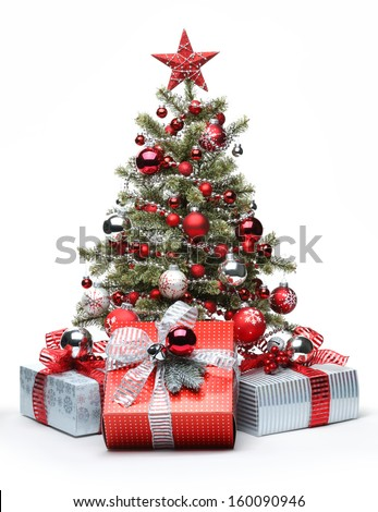 Decorated Christmas tree and gifts on white background - stock photo