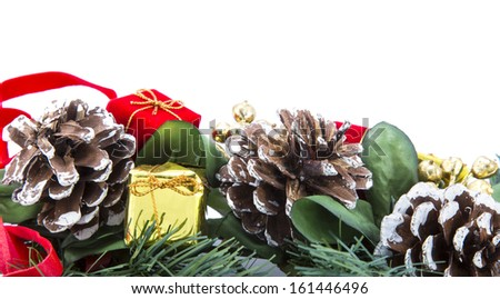 decorated Christmas tree branch - stock photo