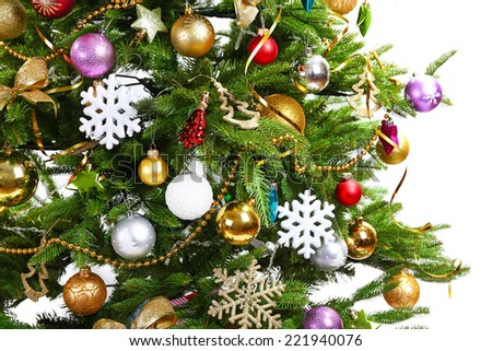 Decorated Christmas tree closeup - stock photo