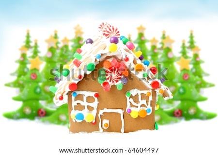 Decorated christmas tree forest with yellow stars sitting in snow ready for christmas with  gingerbread house in the front