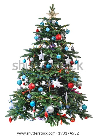 decorated Christmas tree  isolated on white background - stock photo