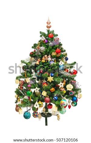 Decorated Christmas Tree Isolated On White Stock Photo 543222562