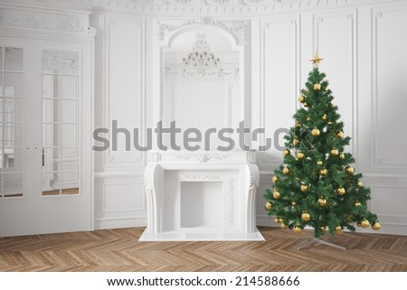 Decorated christmas tree near fireplace in luxury room - stock photo