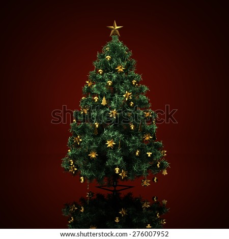 Decorated Christmas tree on a dark red  background - stock photo