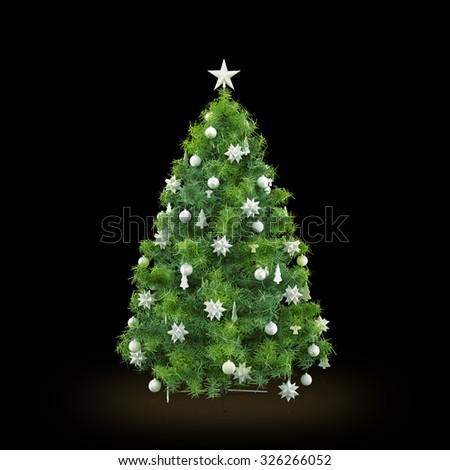 Decorated Christmas tree on black background - stock photo