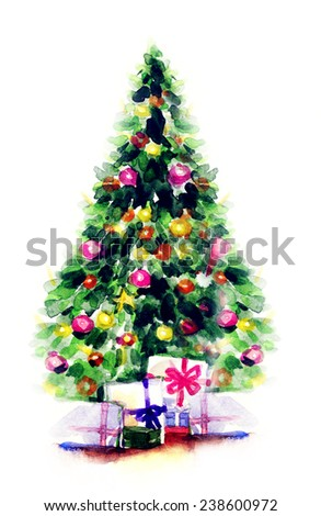 decorated Christmas tree .watercolor illustration - stock photo