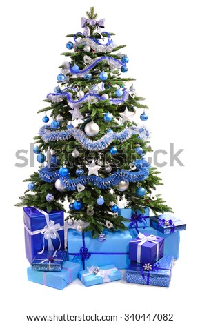 decorated Christmas tree with  blue gifts isolated on white background - stock photo