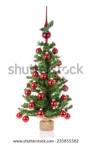 Decorated Christmas tree with red peak balls over a white background - stock photo