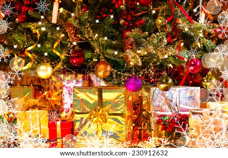 Decorated Christmas tree with various gifts. Christmas and New Year celebration. Holiday Christmas scene. Christmas gifts under the Christmas tree - stock photo