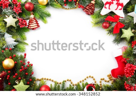 Decorated Christmas wreath on white background - stock photo