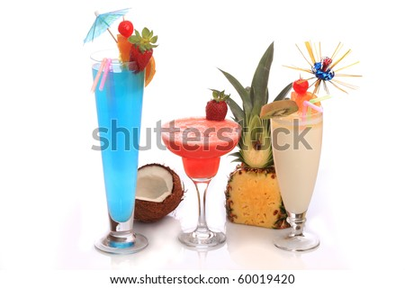 Decorated cocktails (Pina Colada, Strawberry Margarita and Blue Lagoon) over white background. - stock photo