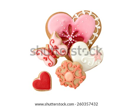 Decorated cookies with different shapes. Isolated, on white background. - stock photo