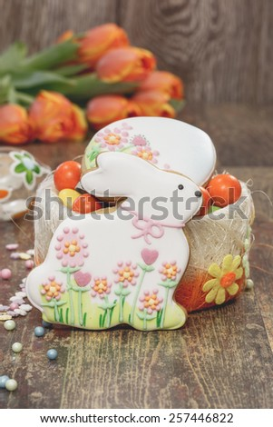 Decorated Easter Cookies. Easter baking. Homemade Easter Bunny biscuit and sugar egg, Easter backing concept. A macro photograph with  shallow depth of field - stock photo