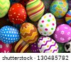 Decorated easter eggs background (3D rendered illustration) - stock photo