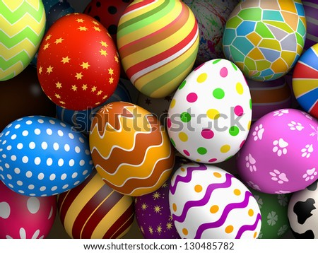 Decorated easter eggs background (3D rendered illustration)