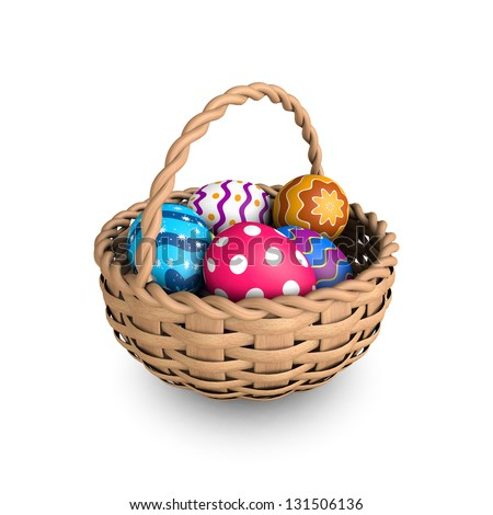 Decorated easter eggs in a basket (3D render) - stock photo
