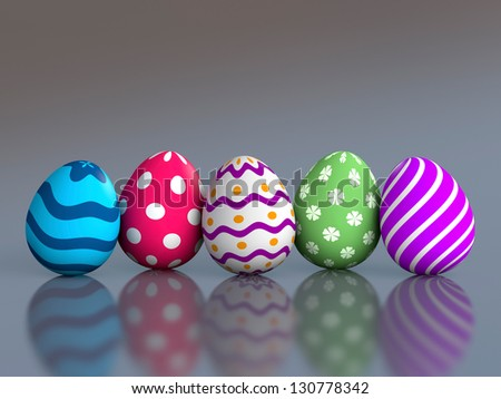 Decorated easter eggs with reflection and copy space (3D render) - stock photo